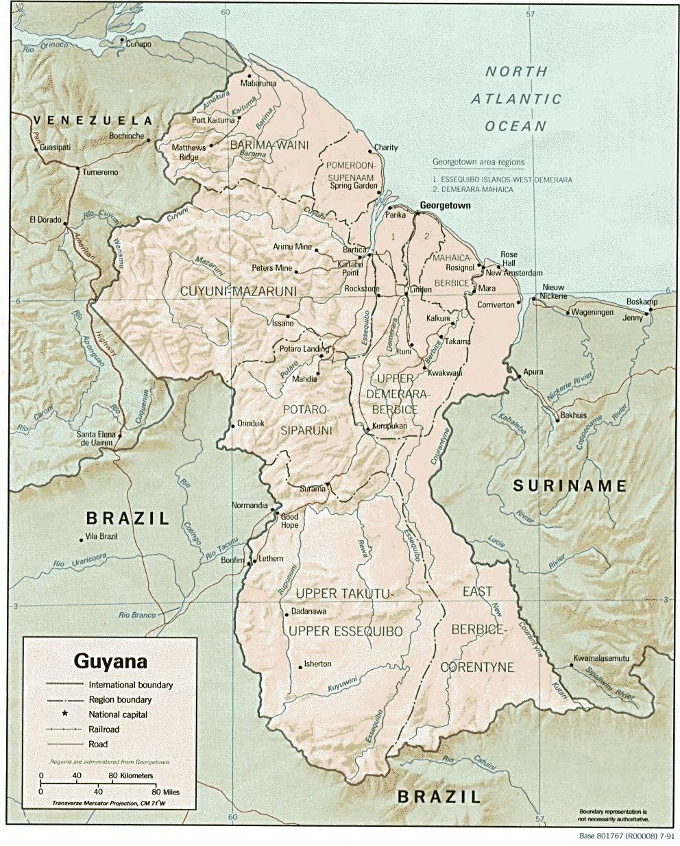 Carte politique du Guyana