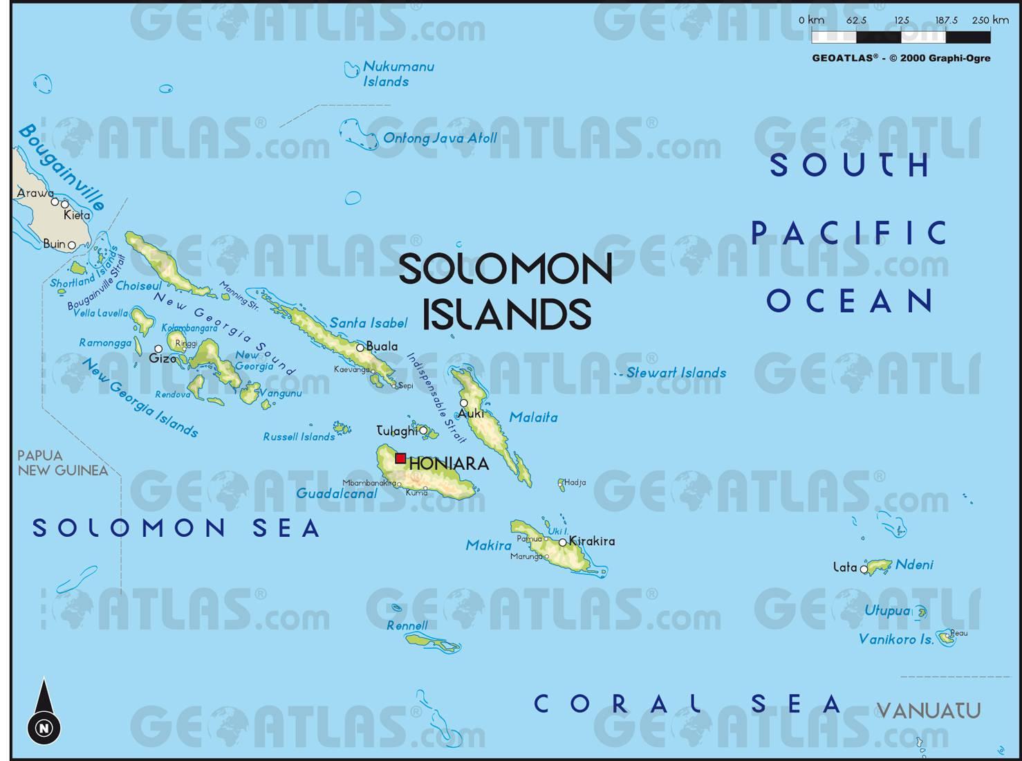 Carte politique des Îles Salomon
