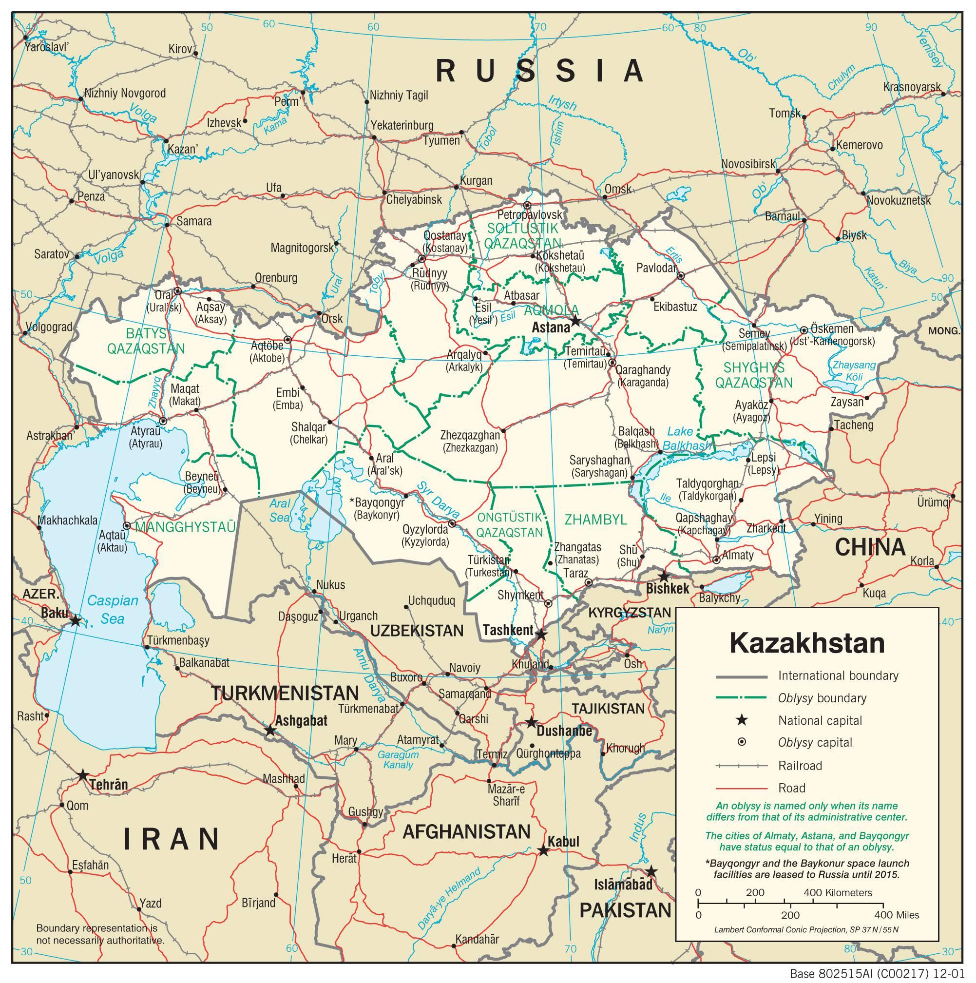 Carte politique du Kazakhstan