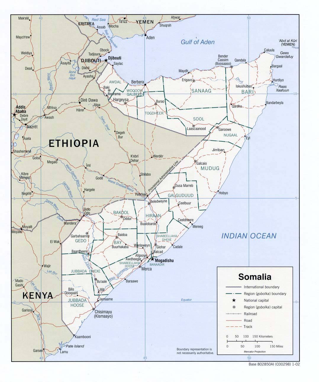 Carte politique de la Somalie