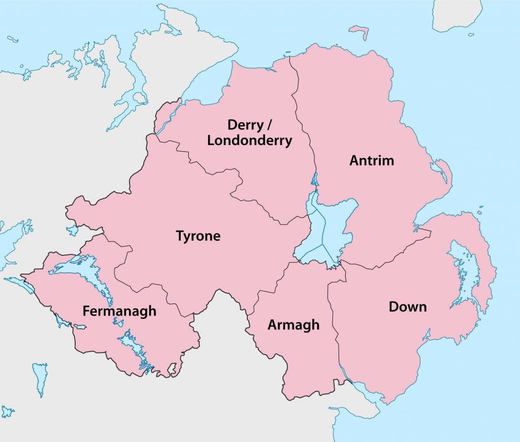 Carte des régions de l'Irlande du Nord