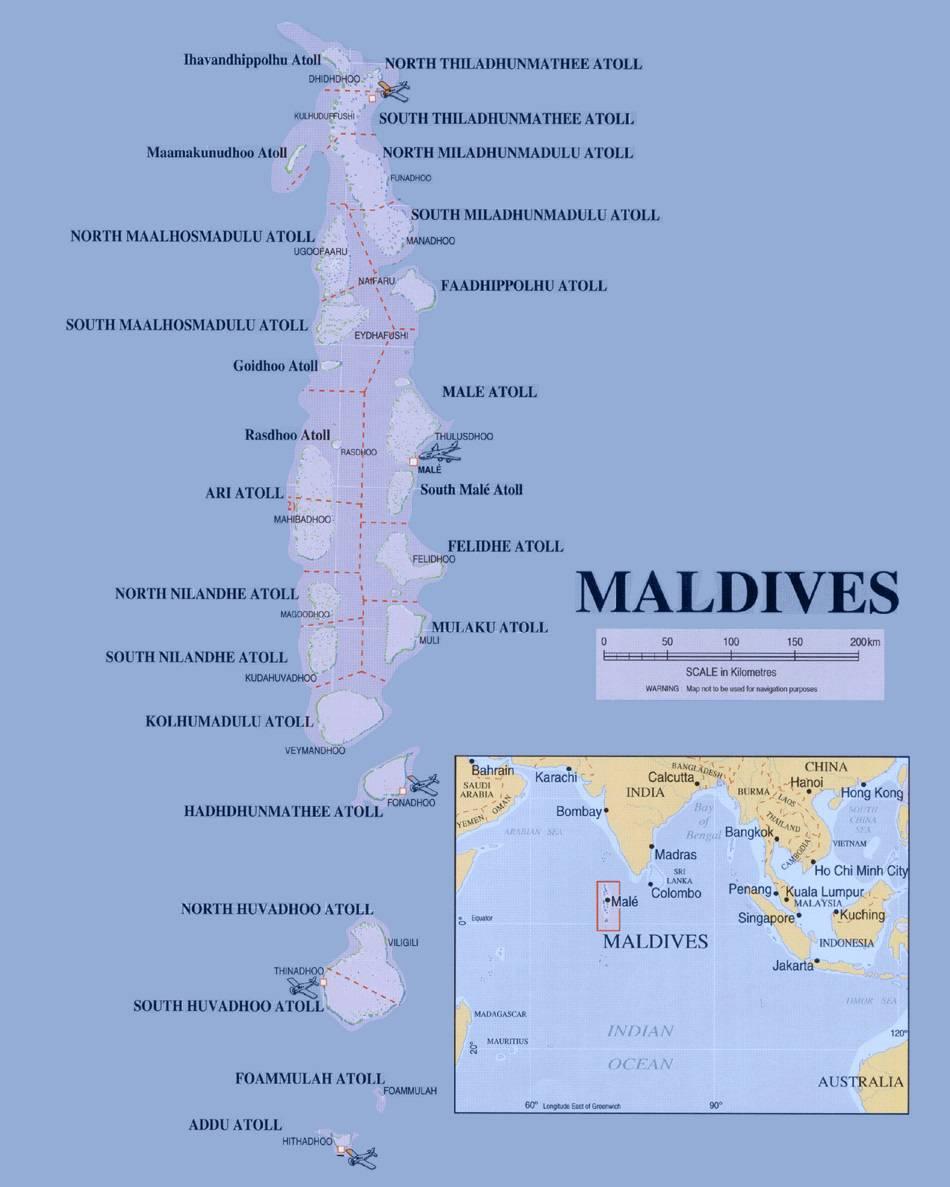 Carte des régions des Maldives