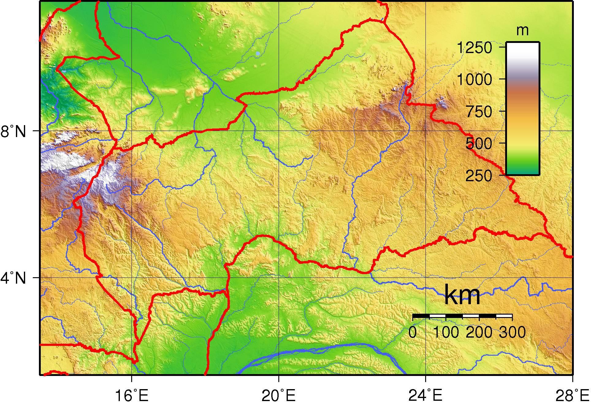 Carte du relief de la Centrafrique