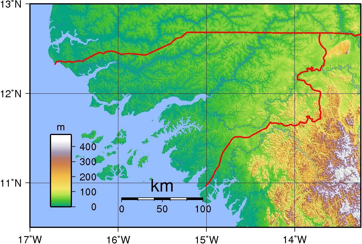 Carte du relief de la Guinée-Bissau