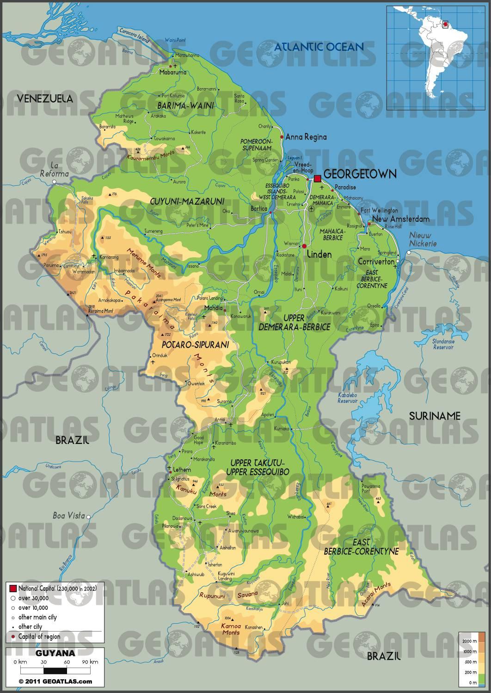 Carte du relief du Guyana