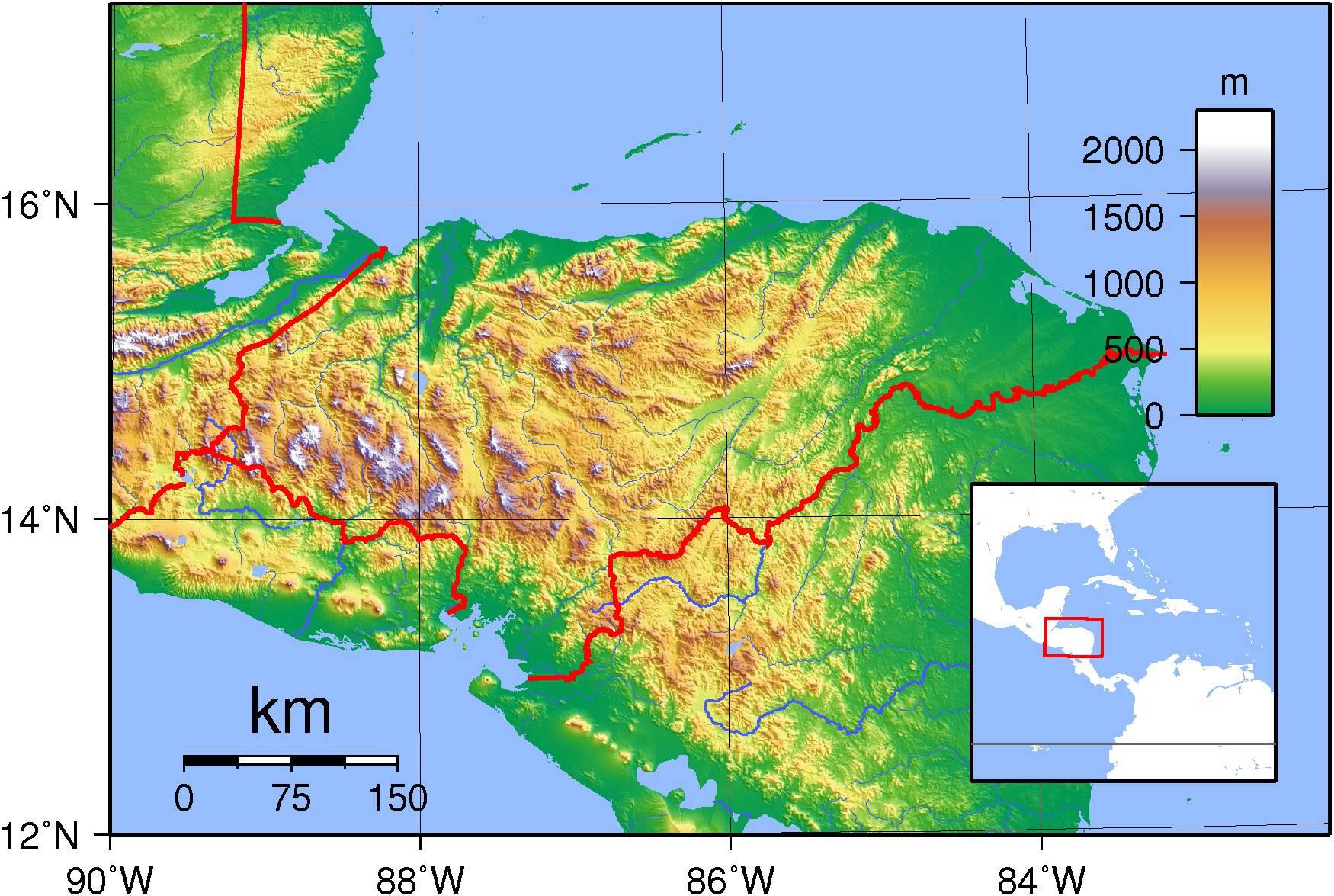 Carte du relief du Honduras