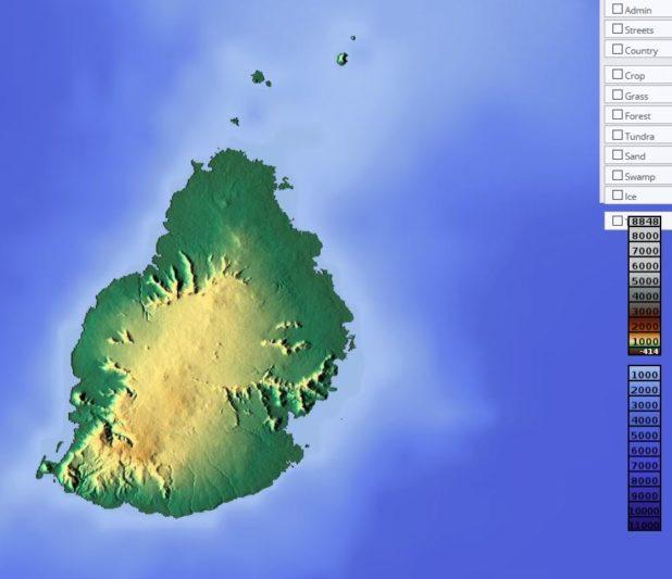 Carte du relief de l'île Maurice