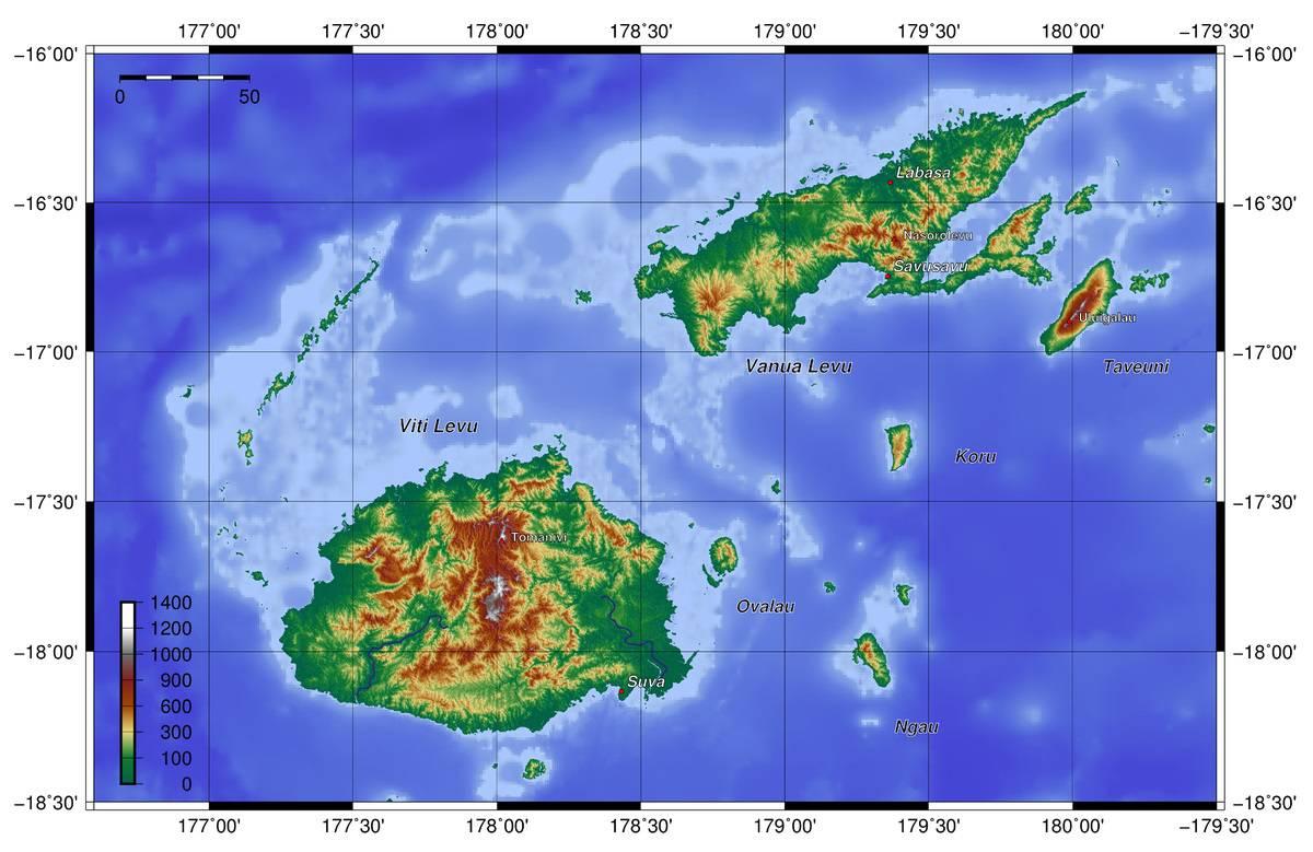 Carte du relief des Îles Fidji