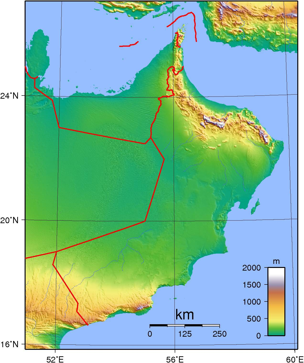 Carte du relief d'Oman