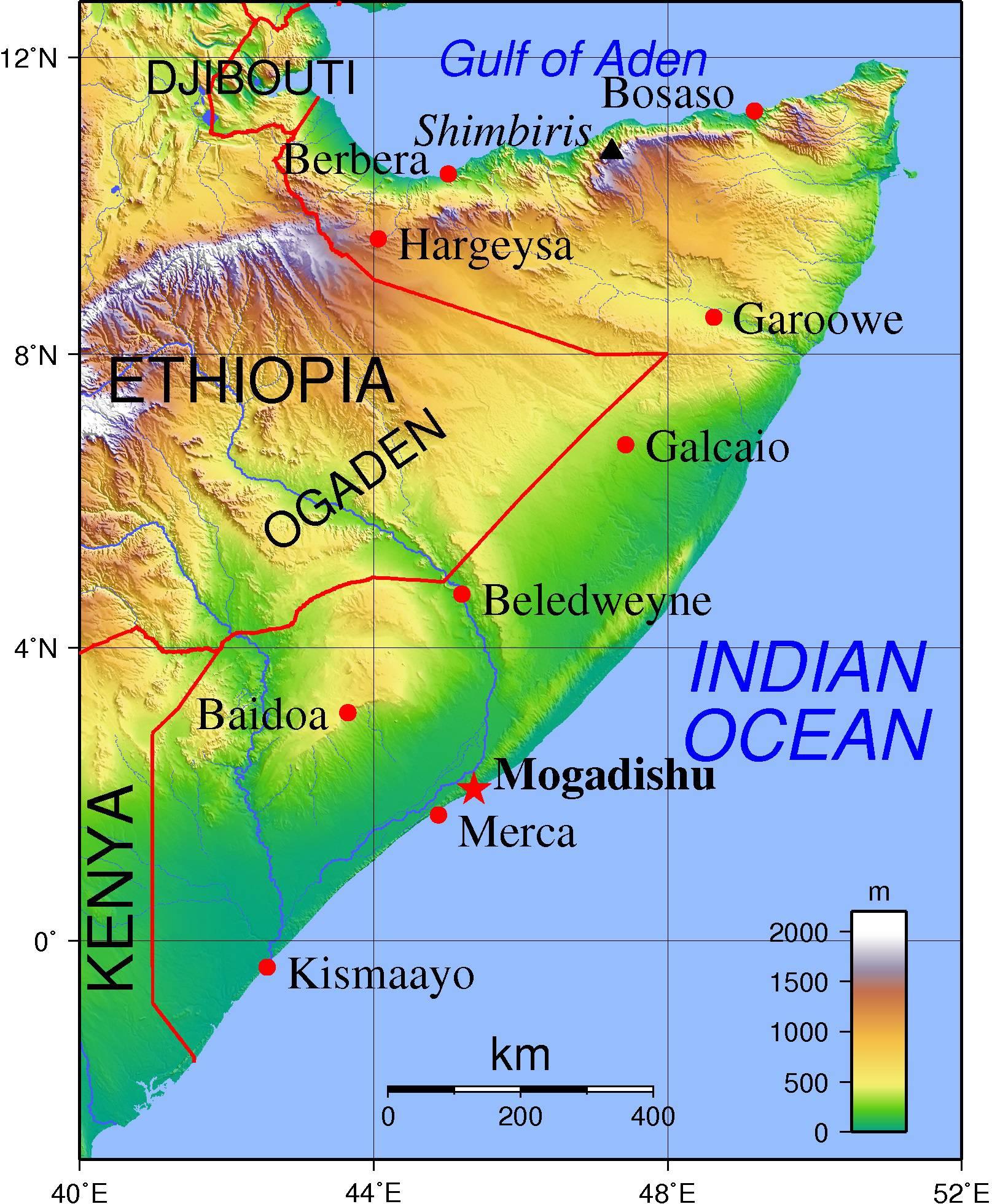 Carte du relief de la Somalie