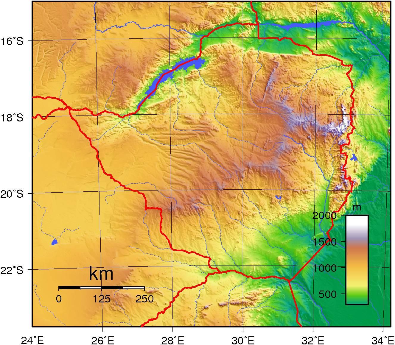 Carte du relief du Zimbabwe