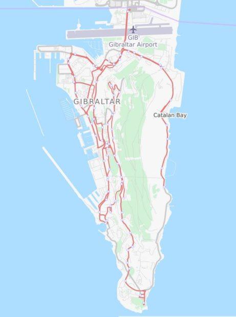 Carte des routes de Gibraltar