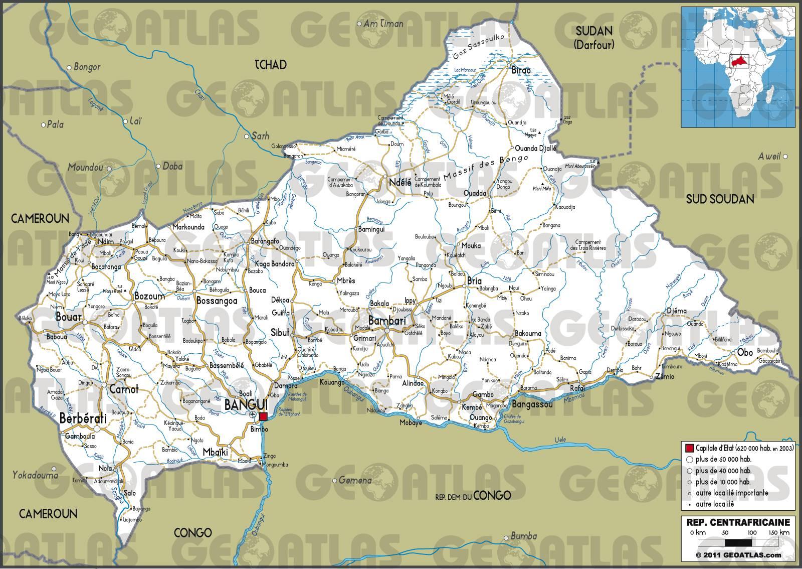 Carte routière de la Centrafrique
