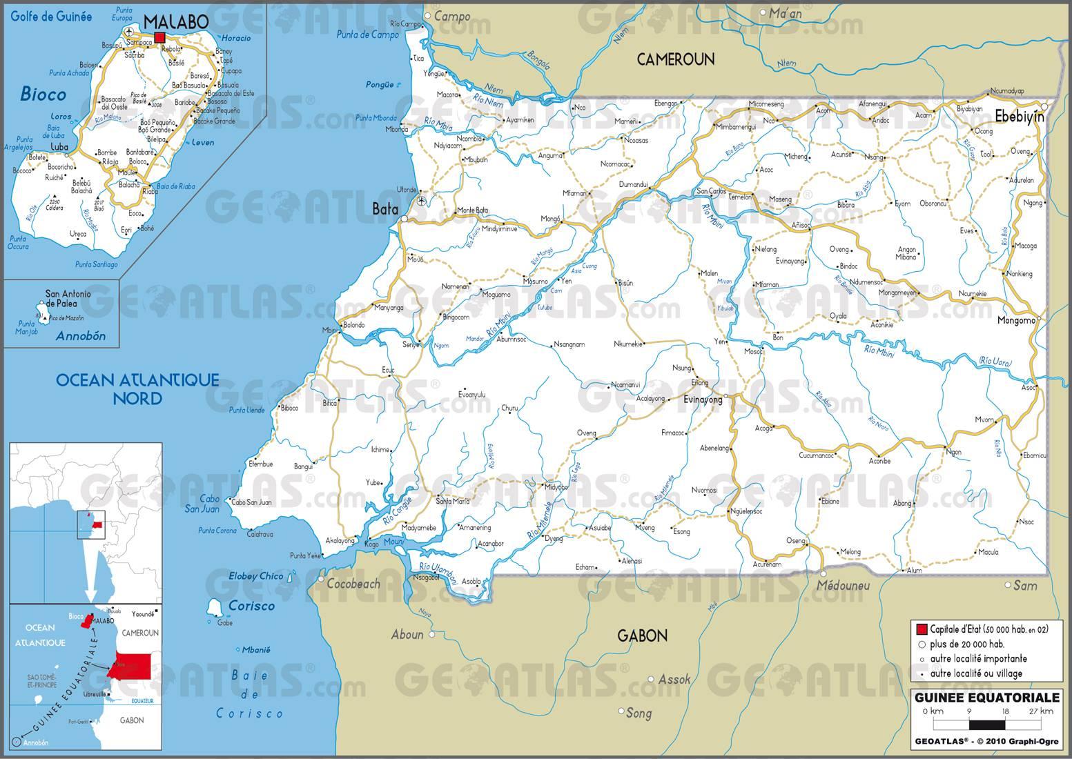 Carte routière de la Guinée-Equatoriale