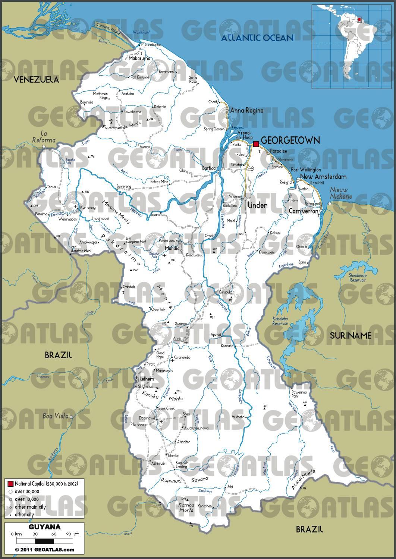 Carte routière du Guyana