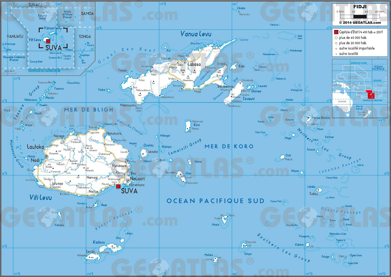 Carte routière des Îles Fidji
