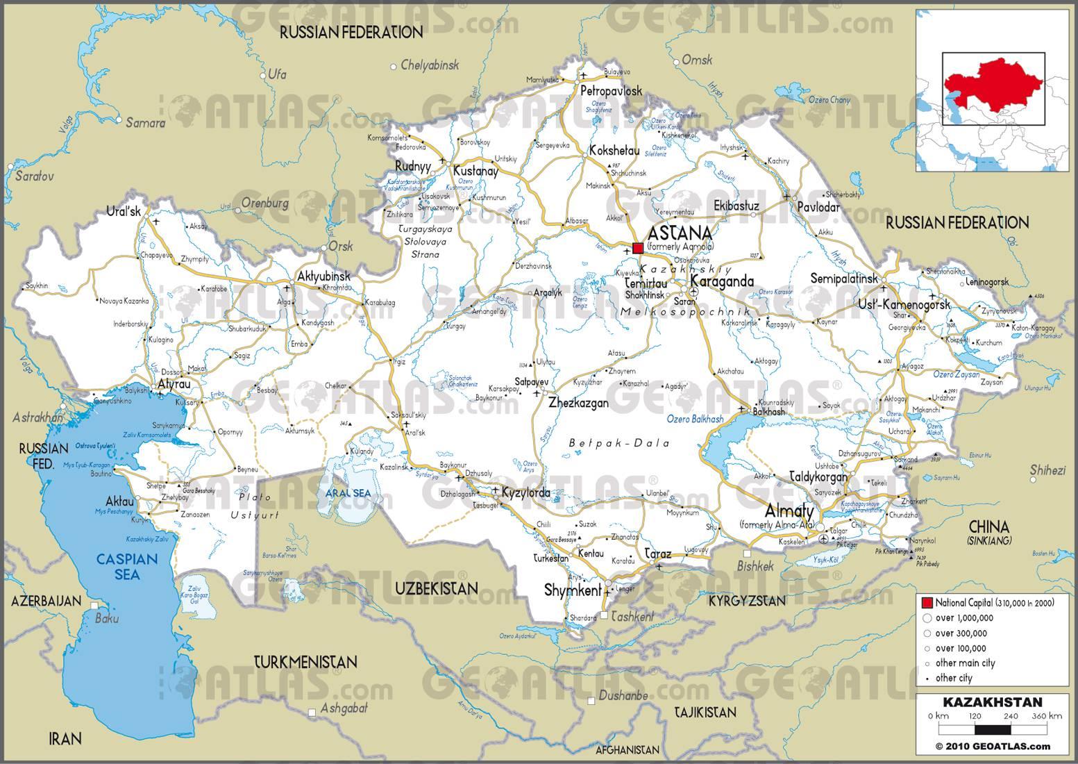Carte routière du Kazakhstan