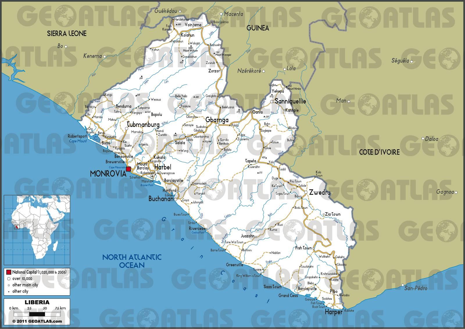 Carte routière du Liberia