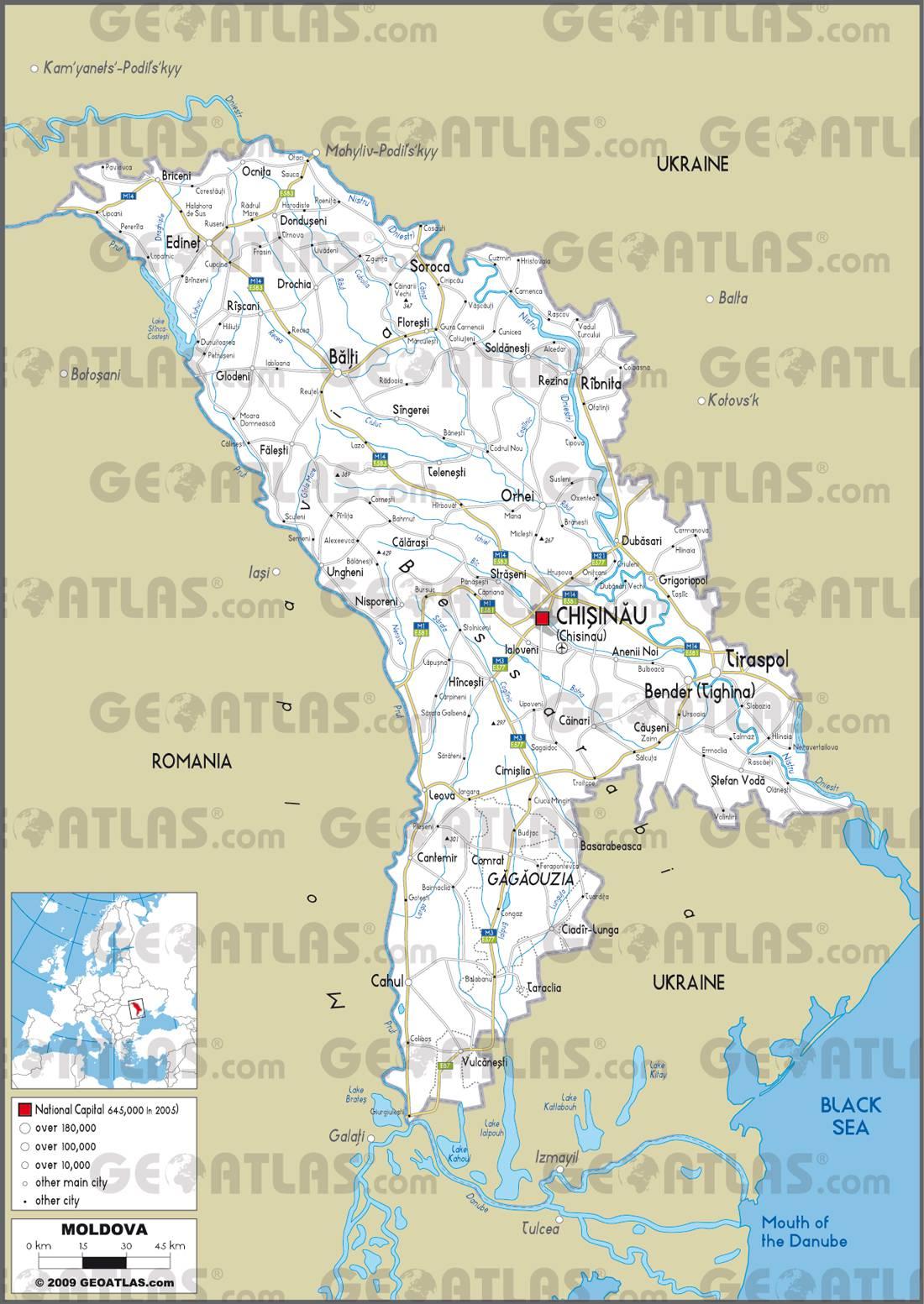 Carte de la Moldavie   Plusieurs cartes du pays en Europe