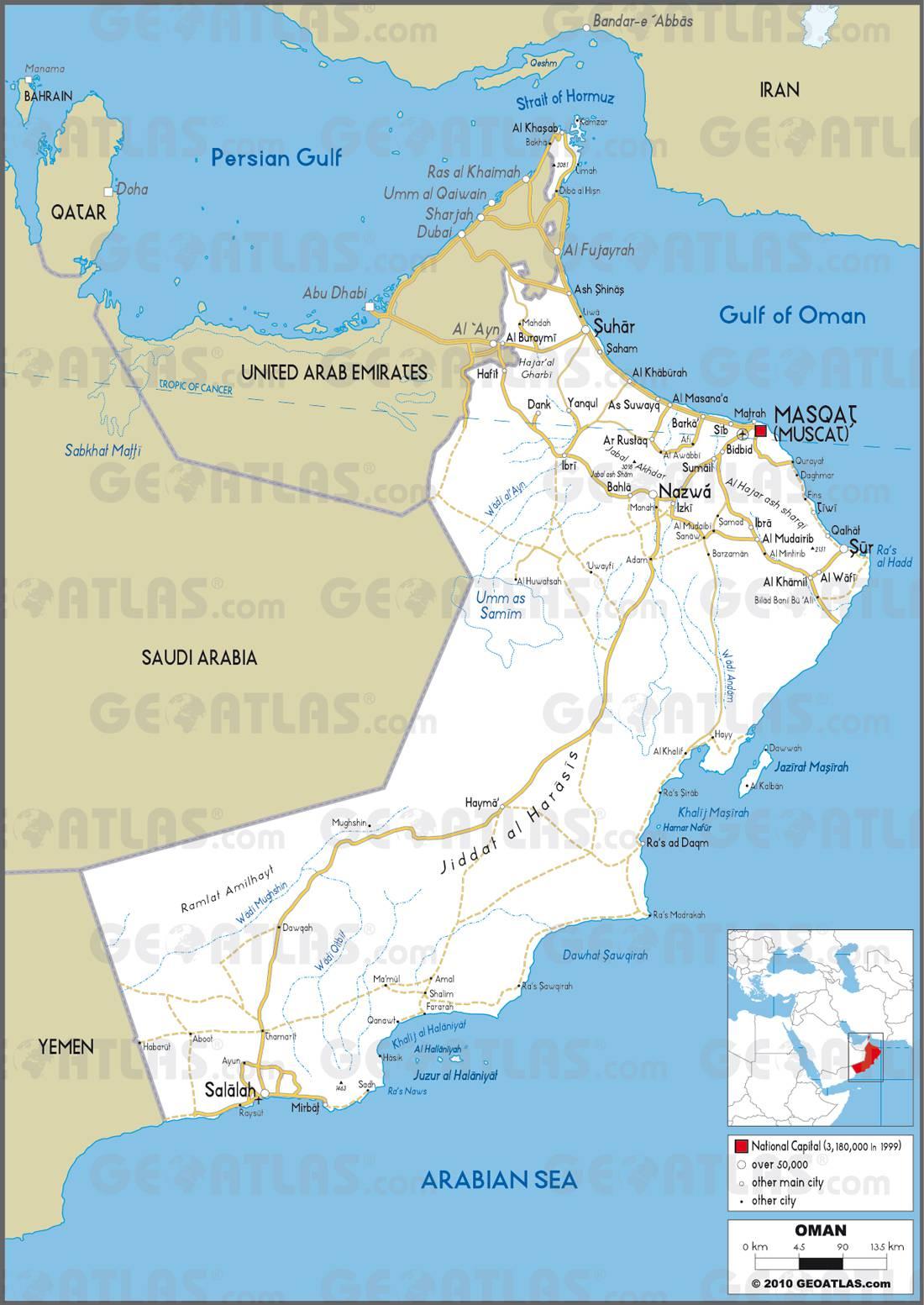 Carte routière d'Oman