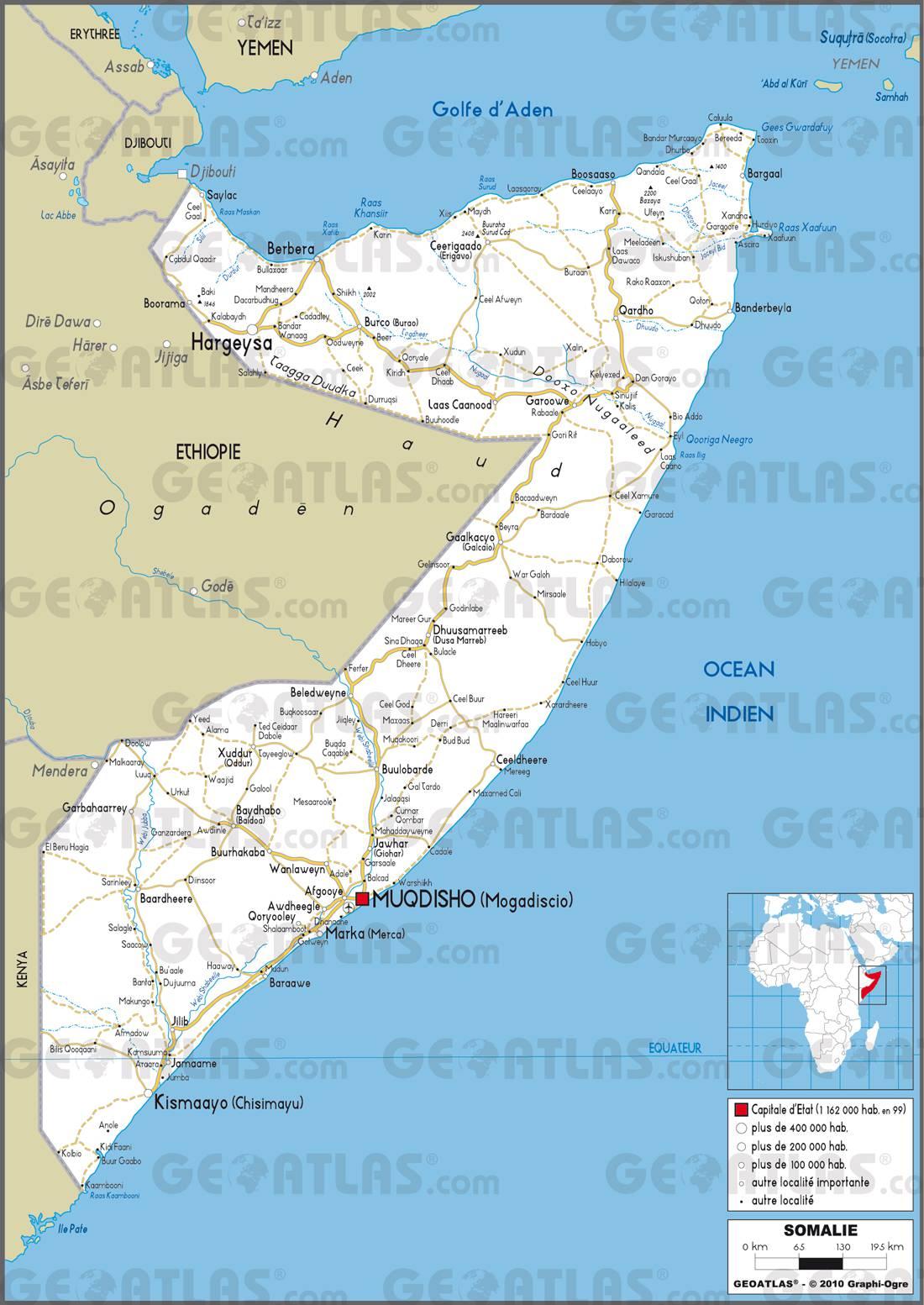 Carte routière de la Somalie