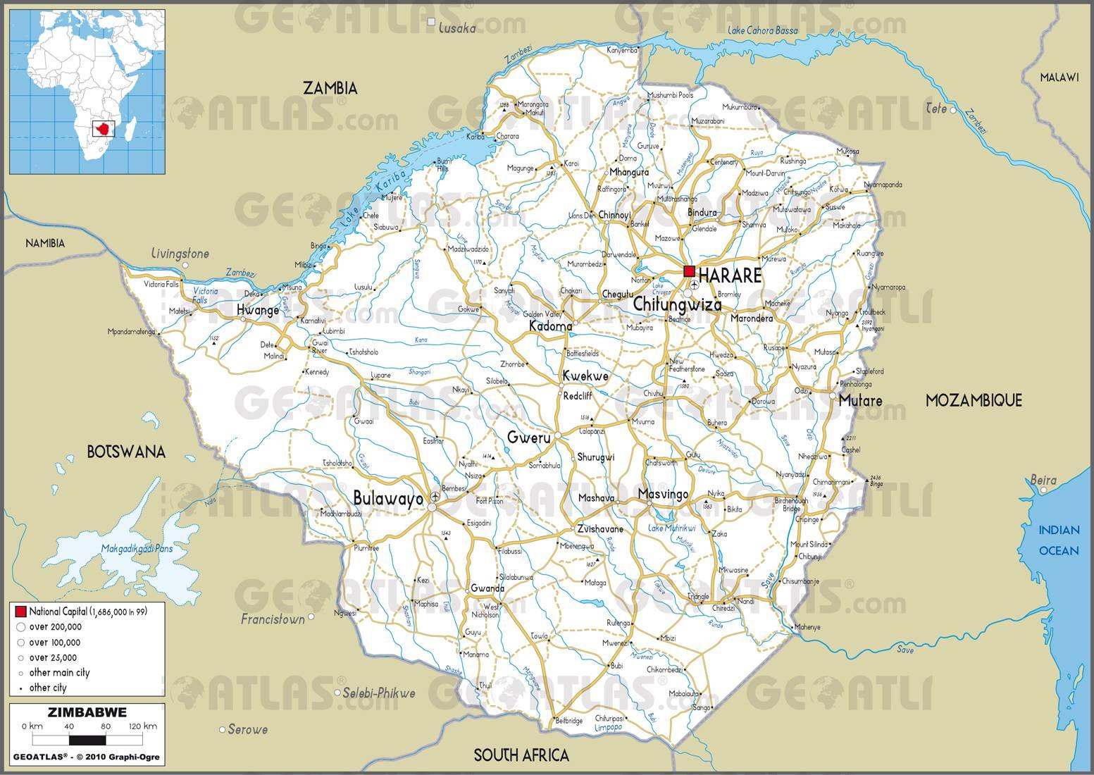 Carte routière du Zimbabwe