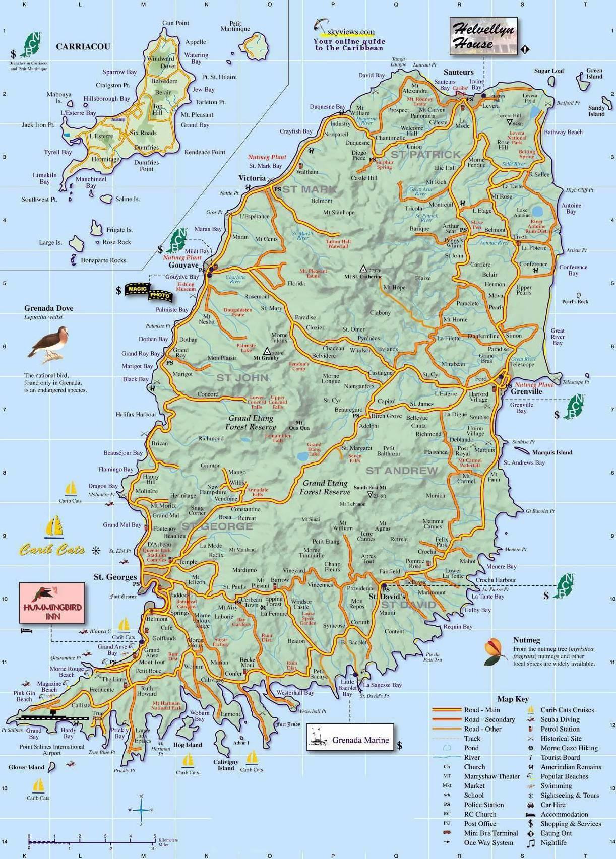 Carte touristique de Grenade