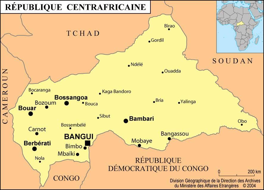 Carte des villes de la Centrafrique