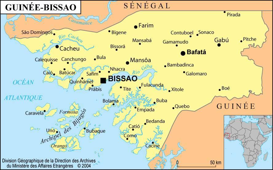 Carte des villes de la Guinée-Bissau