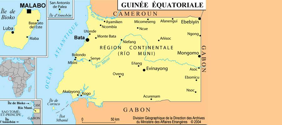 Carte des villes de la Guinée-Equatoriale