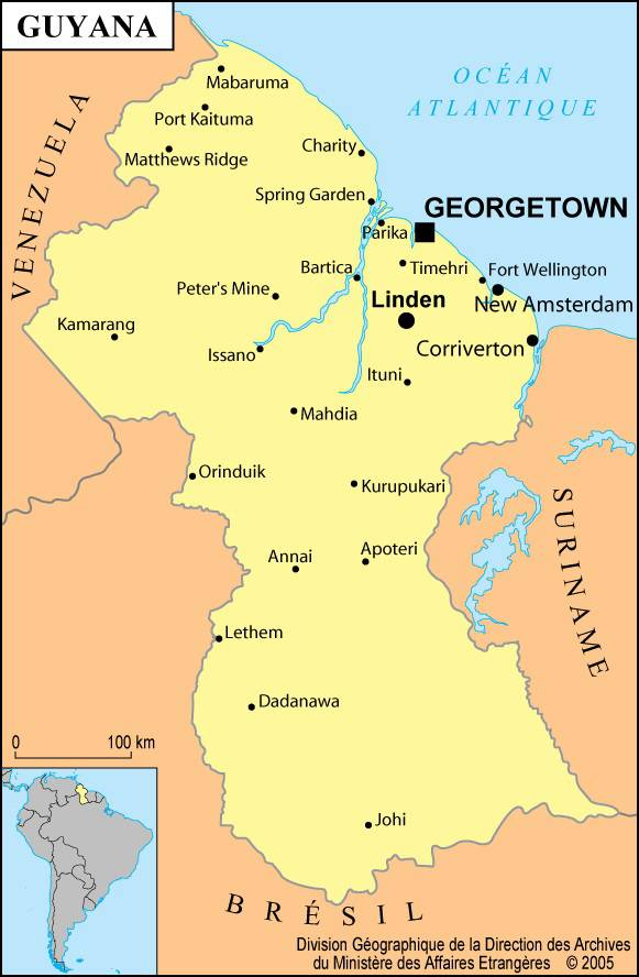 Carte des villes du Guyana