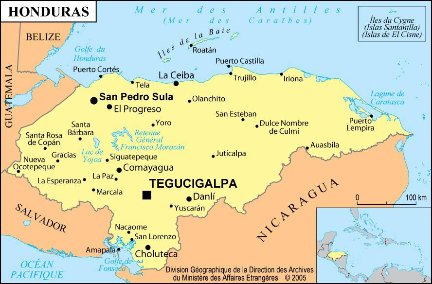 Carte des villes du Honduras