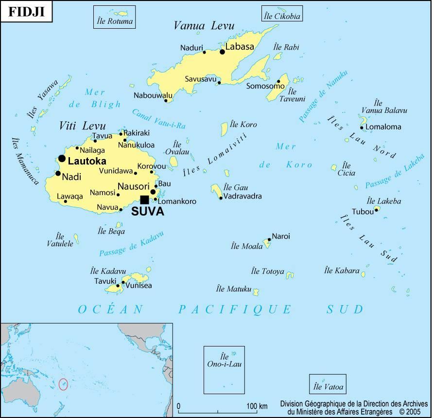 Carte des villes des Îles Fidji
