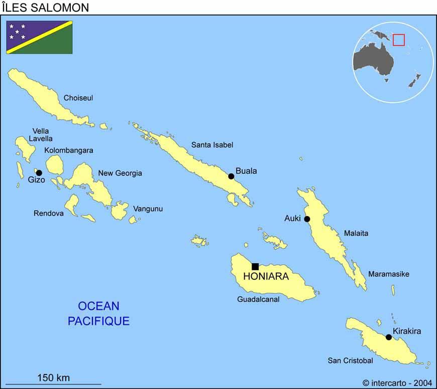 Carte des villes des Îles Salomon