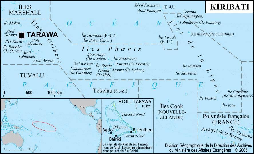 Carte des villes des Kiribati