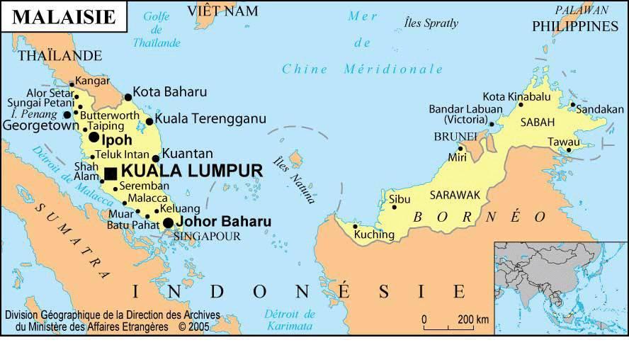 malaisie carte du monde Carte de la Malaisie   Plusieurs cartes du pays en Asie (villes