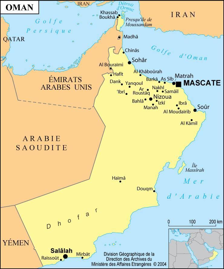 Carte des villes d'Oman