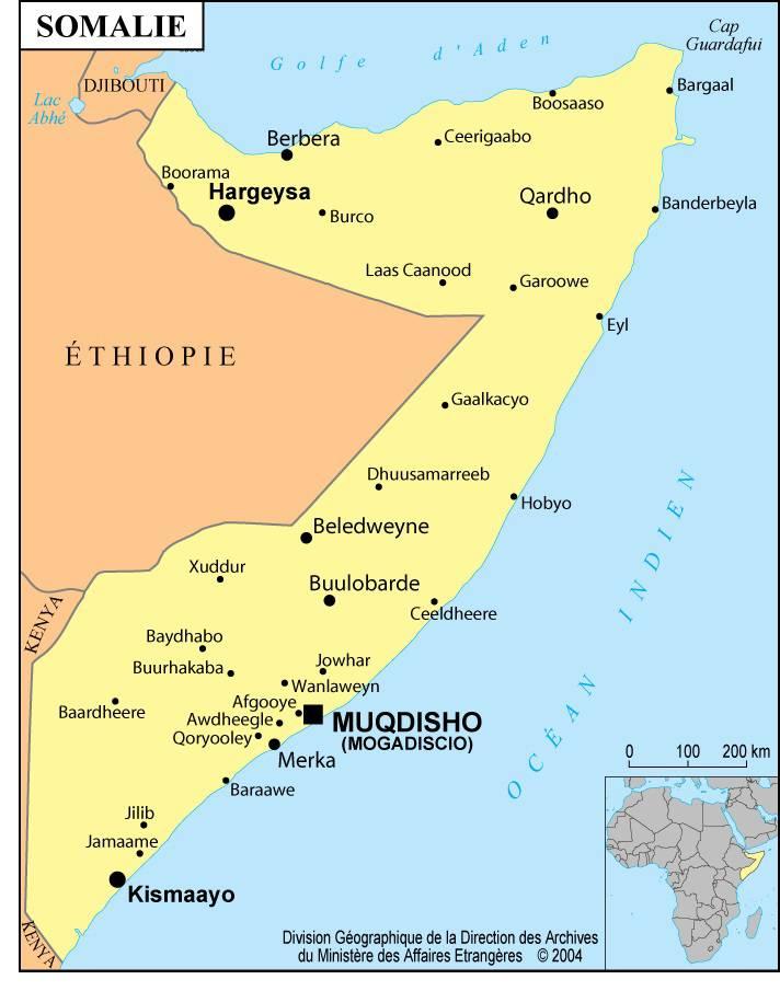 Carte villes de la Somalie