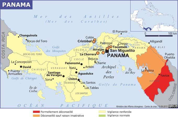 Carte des zones dangereuses du Panama