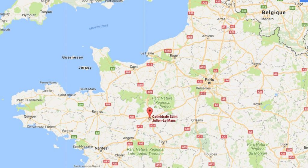 Cathédrale le Mans sur une carte Google Maps