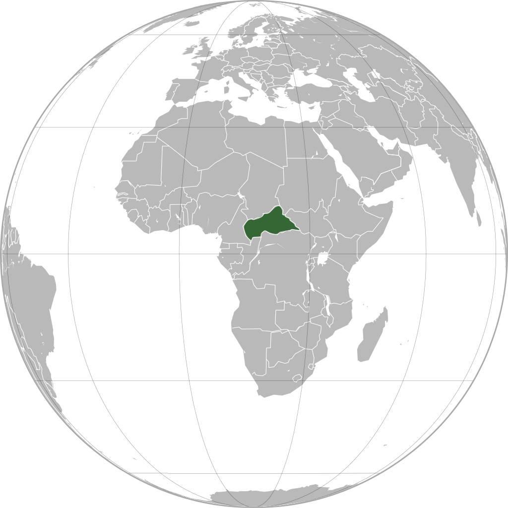 Centrafrique sur une carte d'Afrique