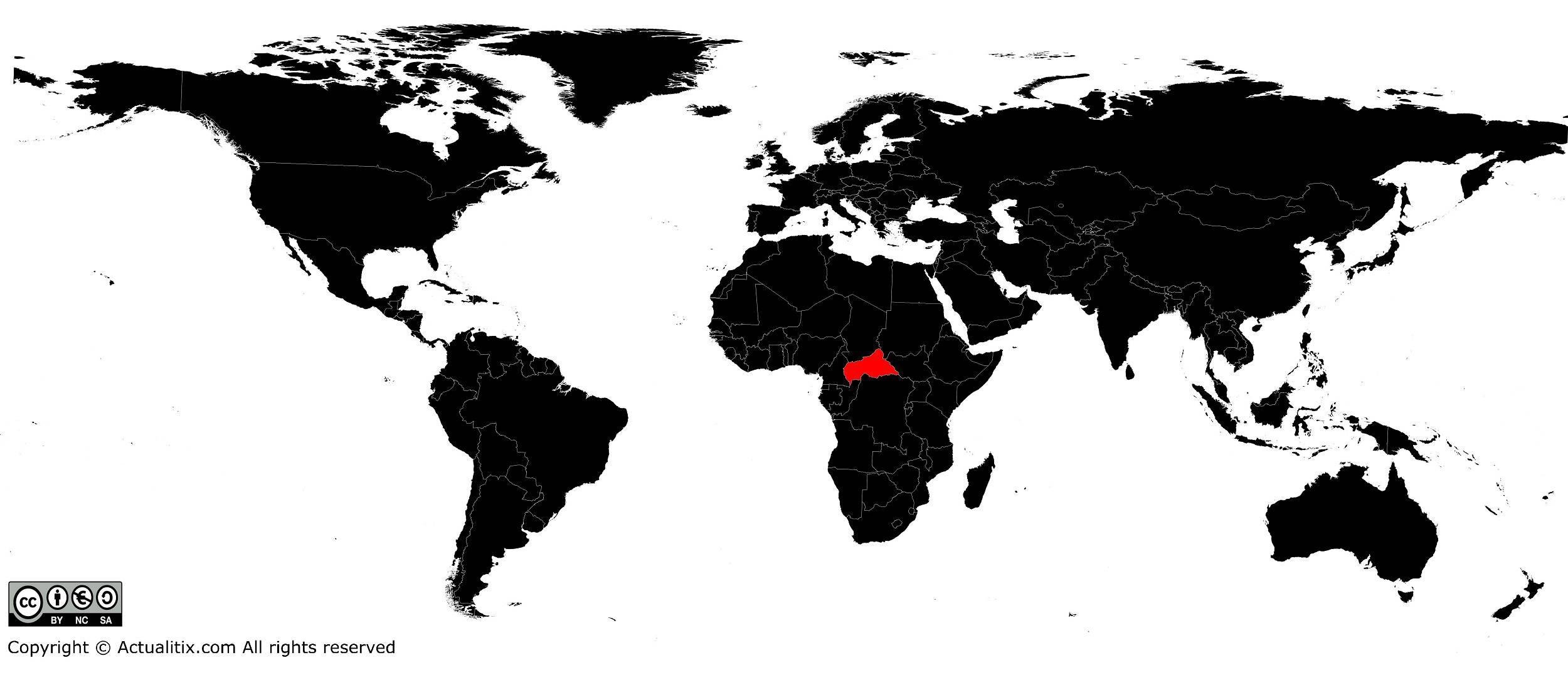 Centrafrique sur une carte du monde