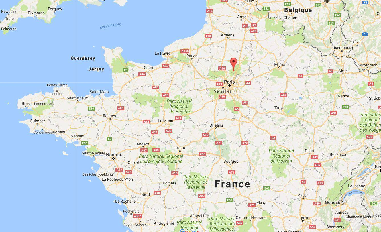 Château de Chantilly sur une carte de France