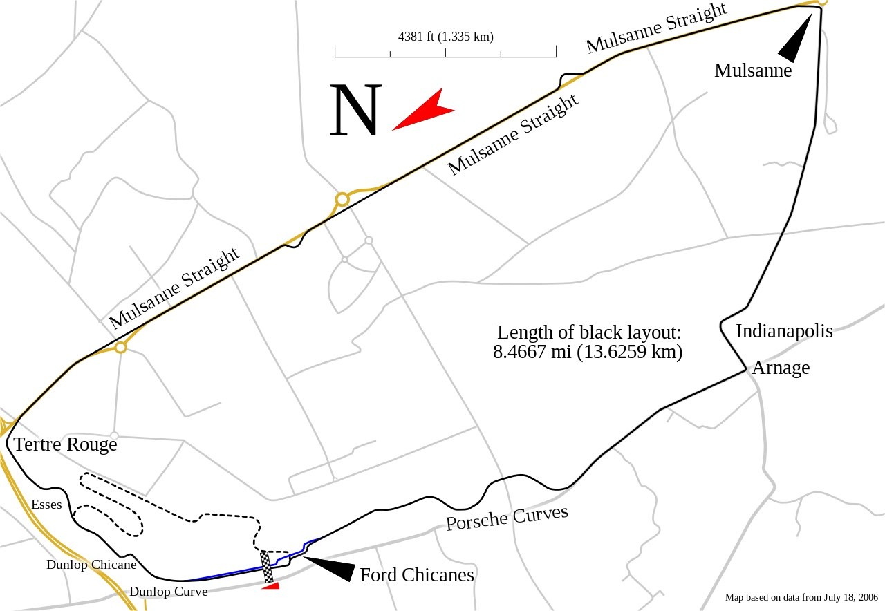 La carte du circuit des 24 heures du Mans
