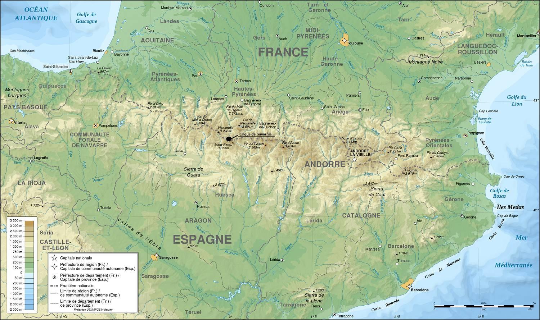 Cirque de Gavarnie sur une carte des Pyrénées