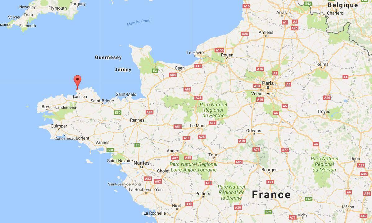 Côte de Granit Rose sur une carte de France