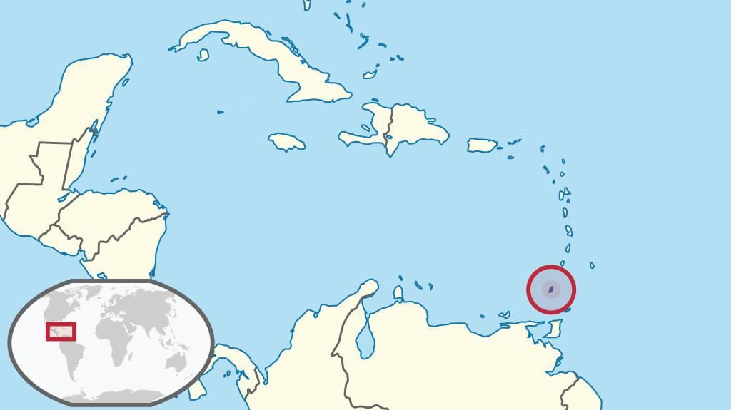 Grenade sur une carte de l'Amérique Centrale