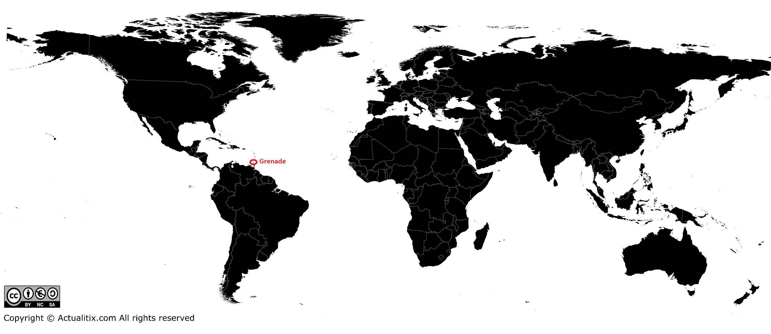 Grenade sur une carte du monde (Pays)