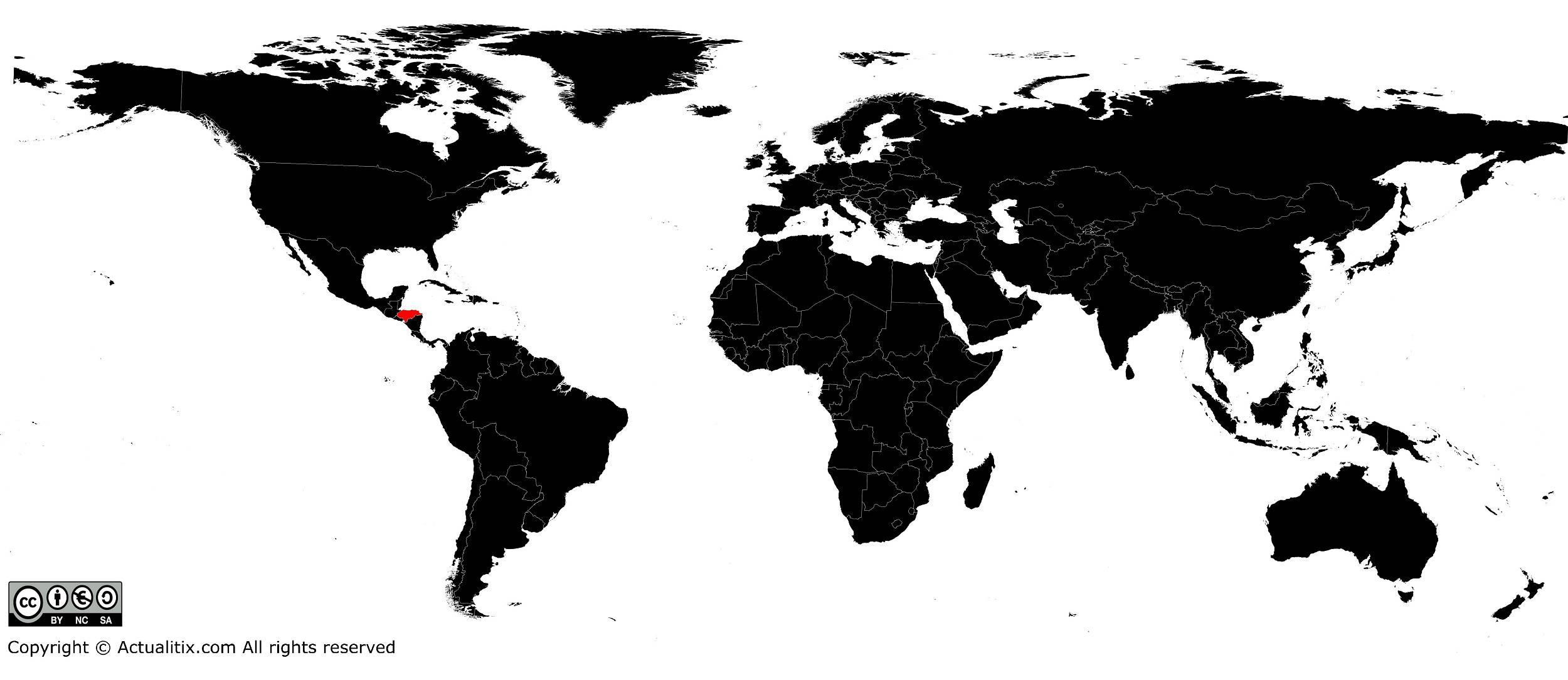 Honduras sur une carte du monde