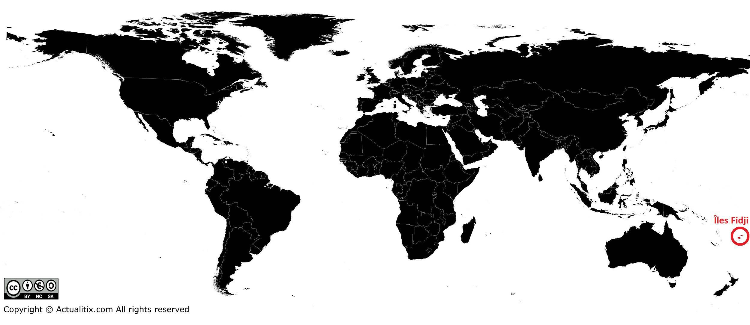 Îles Fidji sur une carte du monde